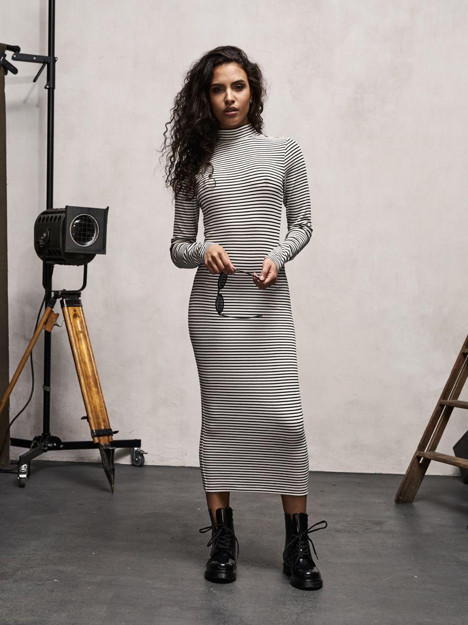 Ladies Striped Turtleneck Dress Black White TB1709