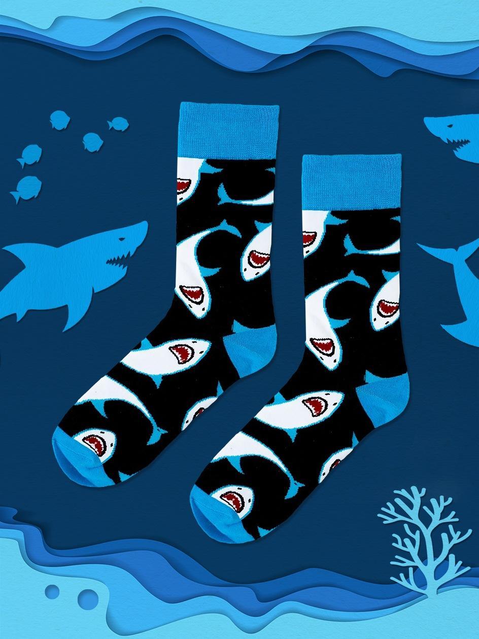 Długie Skarpety We Wzory MyStars x Blind Box Sharks Czarne