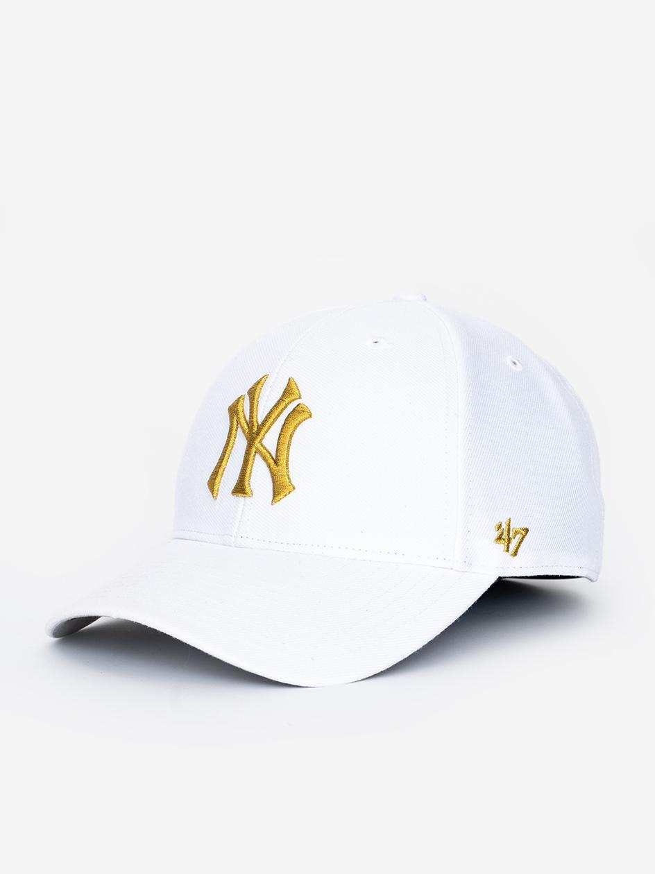 Czapka Z Daszkiem Snapback 47 Brand New York Yankees MVP Metallic Biała / Złota