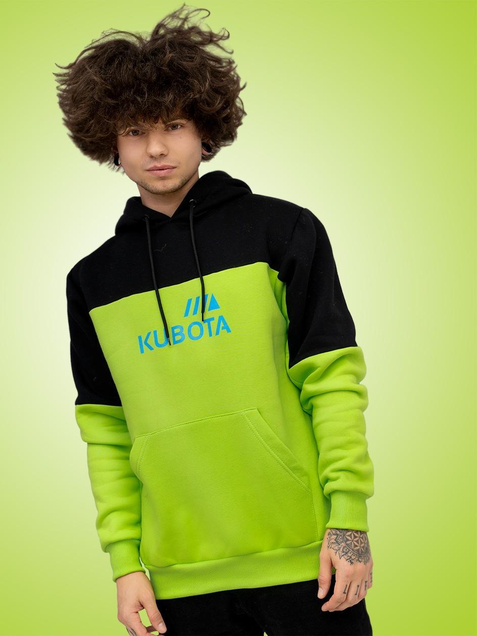 Bluza Z Kapturem Kubota Logo Cut Limonkowa / Czarna
