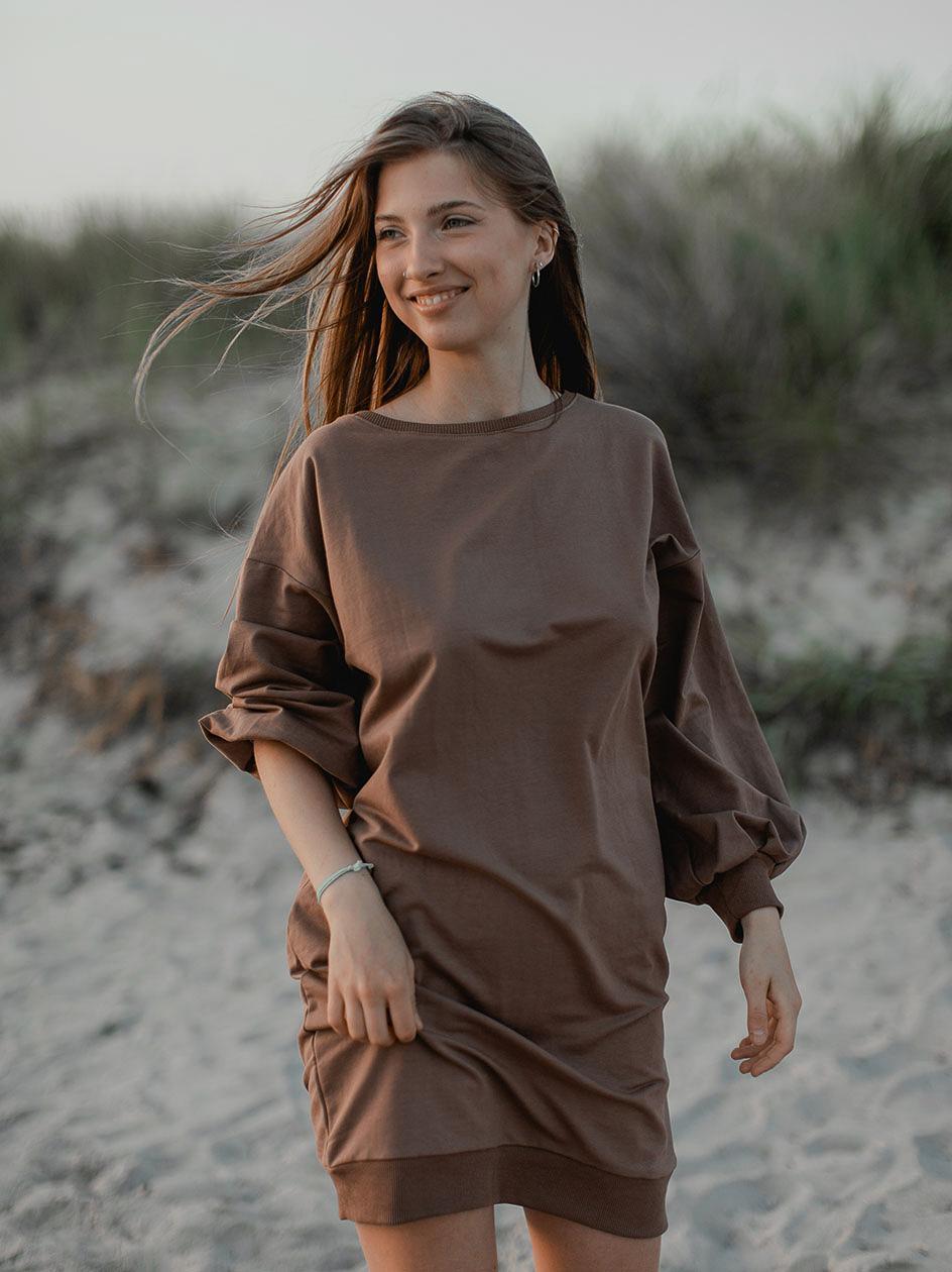 Sukienka Oversize Point X Back Slit Jasna Brązowa