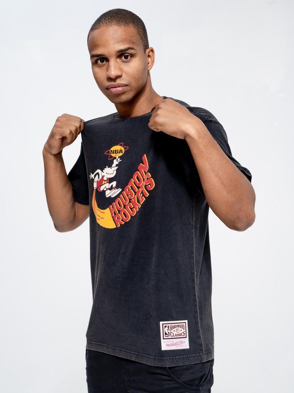 Koszulka Z Krótkim Rękawem Mitchell & Ness Houston Rockets NBA Worn Logo / Wordmark Czarna