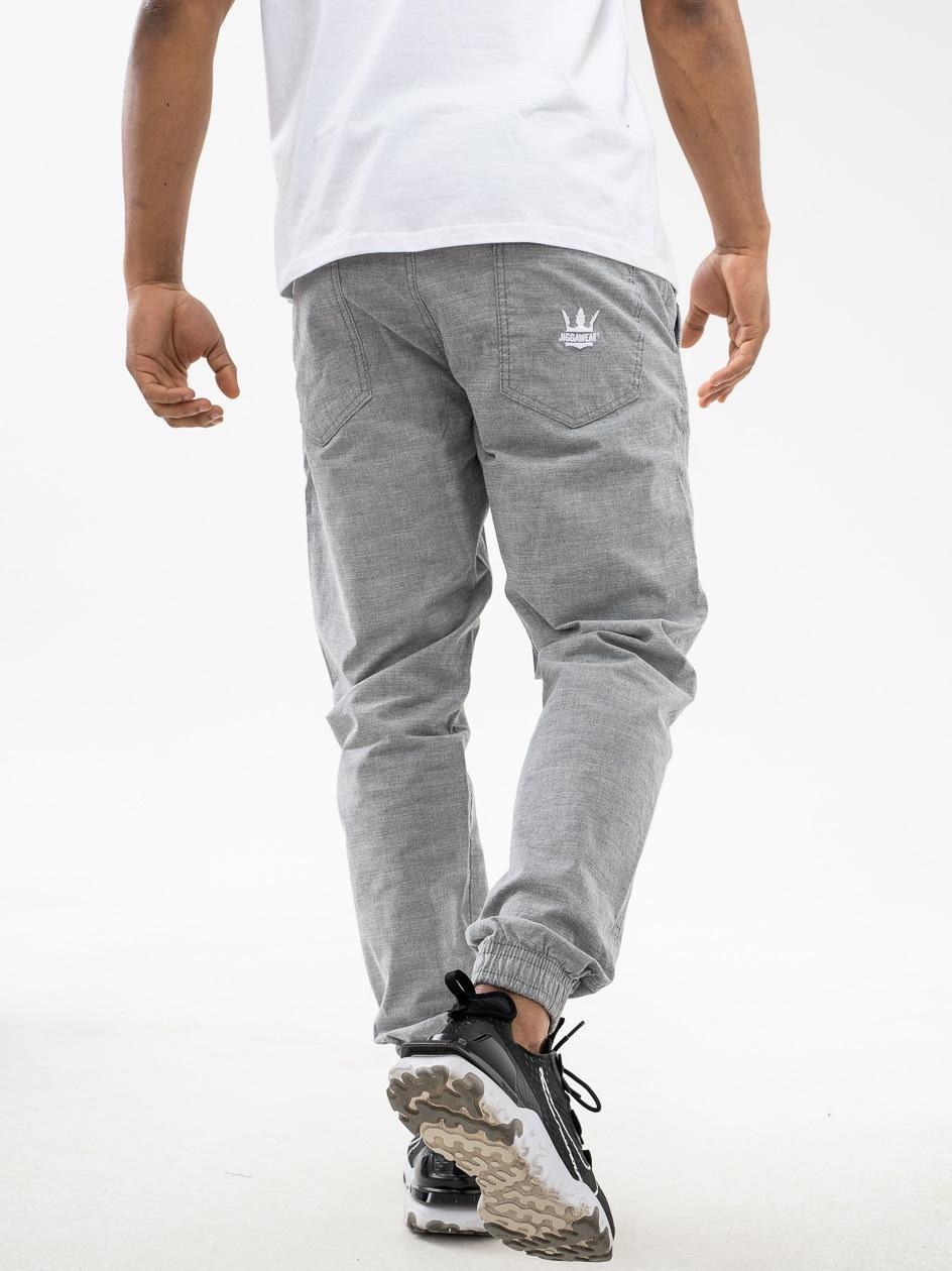 Spodnie Materiałowe Jogger Jigga Crown Jasne Szare