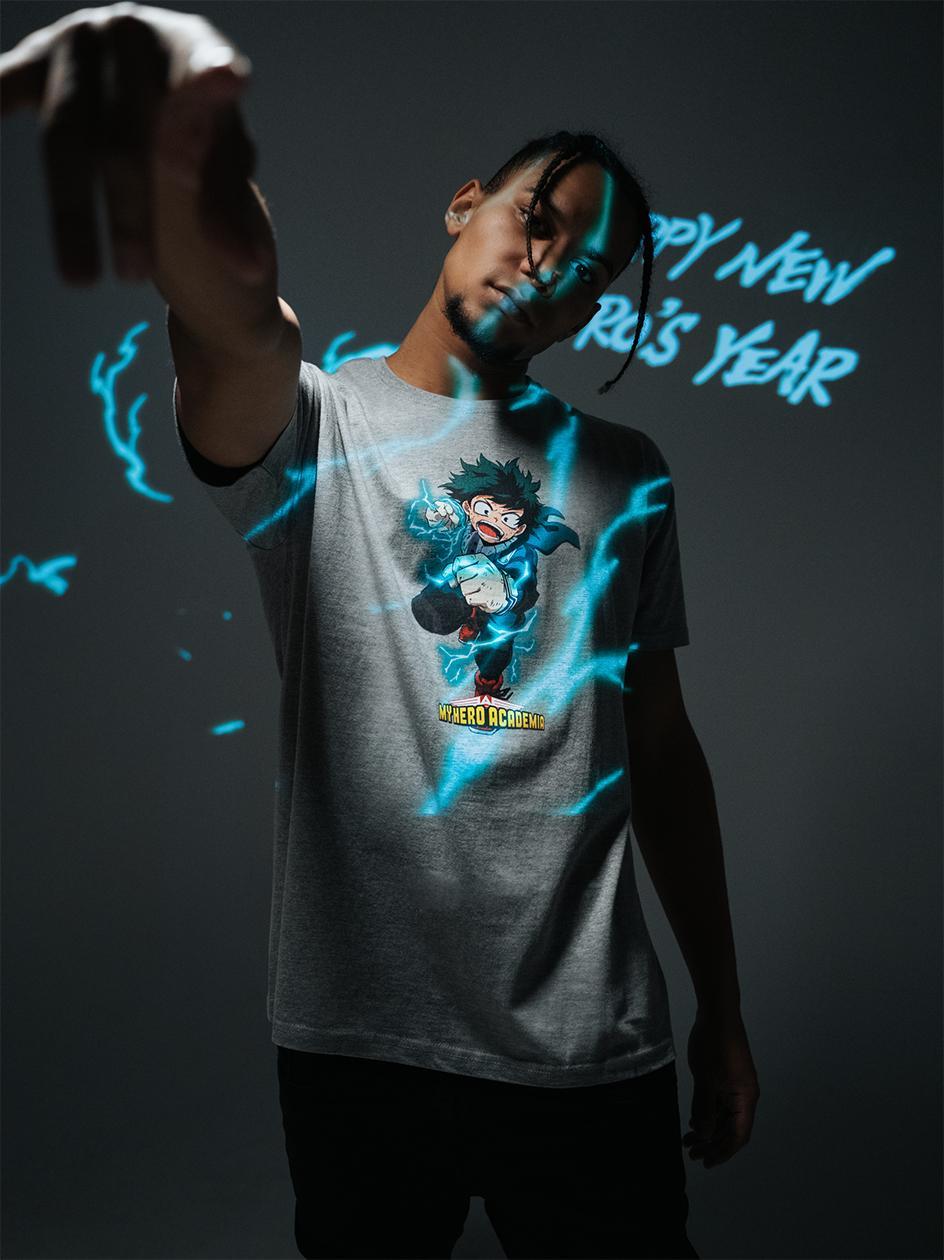 Koszulka Z Krótkim Rękawem My Hero Academia Izuku Deku Charakter Szara