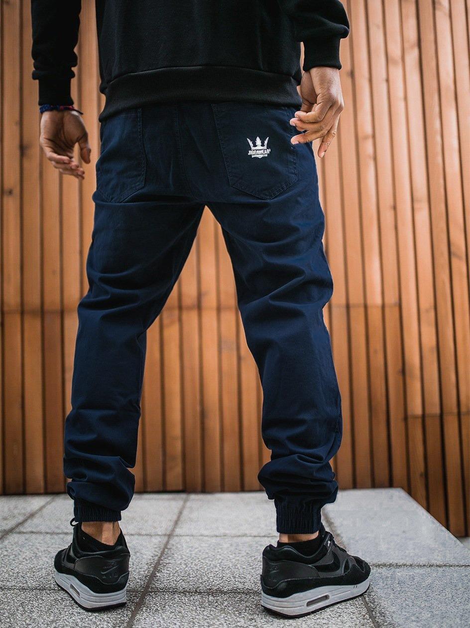 Spodnie Materiałowe Jogger Jigga Crown Stitch Granatowe / Białe
