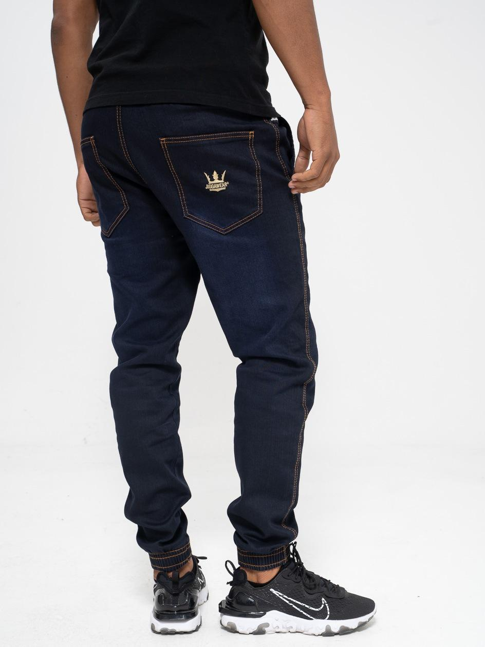 Spodnie Jeansowe Jogger Jigga Wear Crown Granatowe / Złote