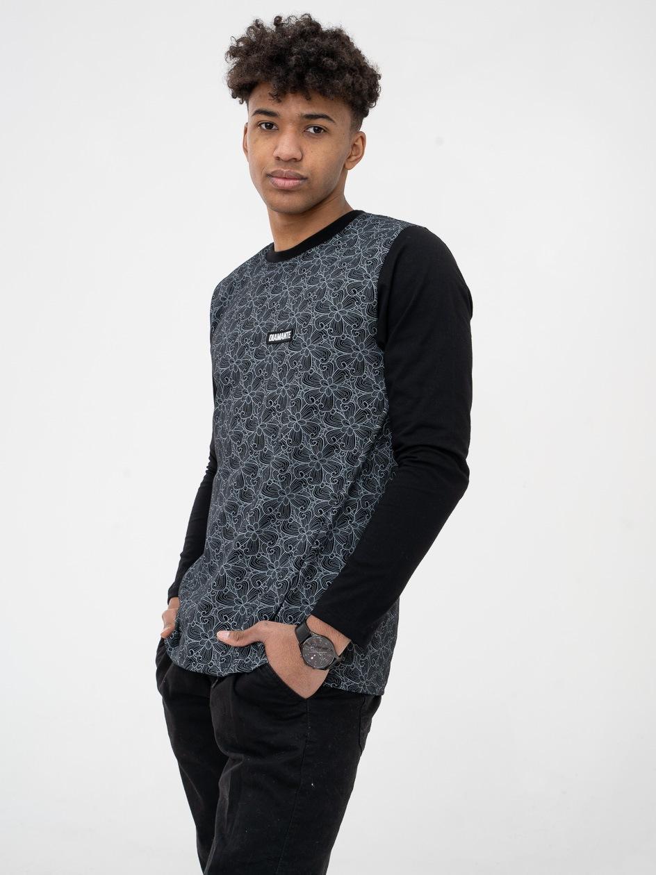 Koszulka Z Długim Rękawem Diamante Wear Floral Czarna