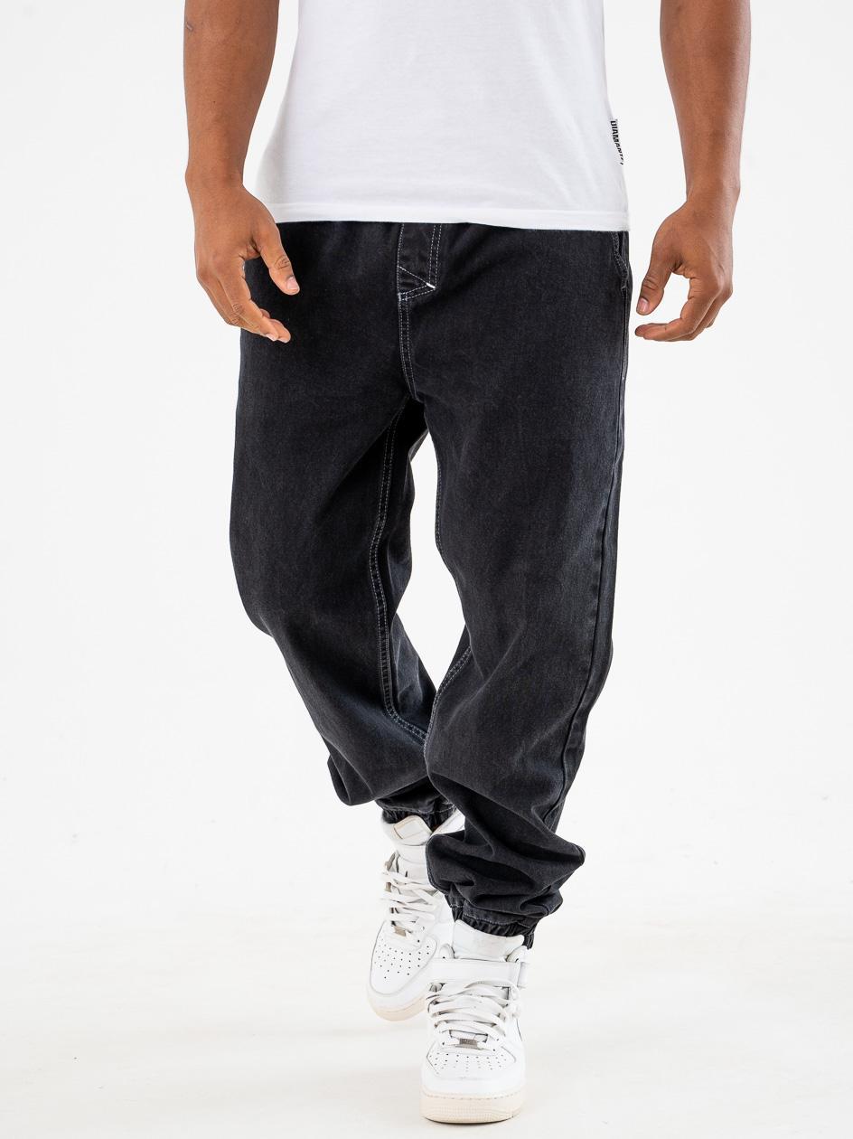 Spodnie Jeansowe Jogger Ze Ściągaczem Mass Signature Rinse Czarne