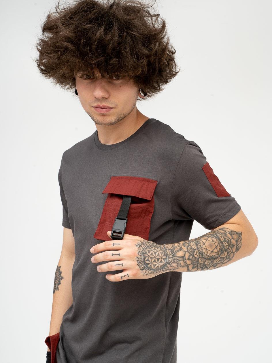 Koszulka Z Krótkim Rękawem Plus Eighteen Cargo Szara / Bordowa