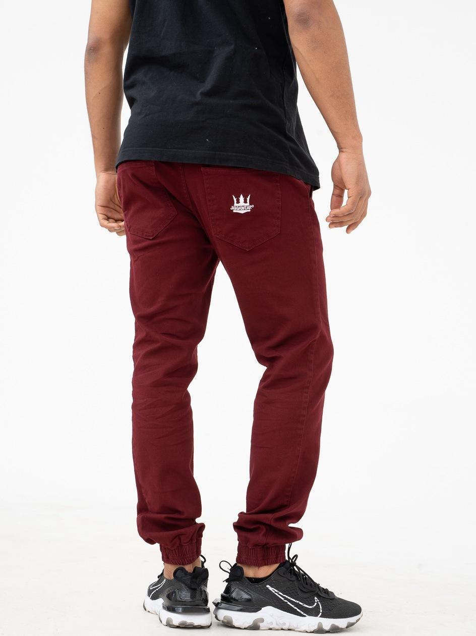 Spodnie Jogger Jigga Crown Stitch Bordowe / Białe