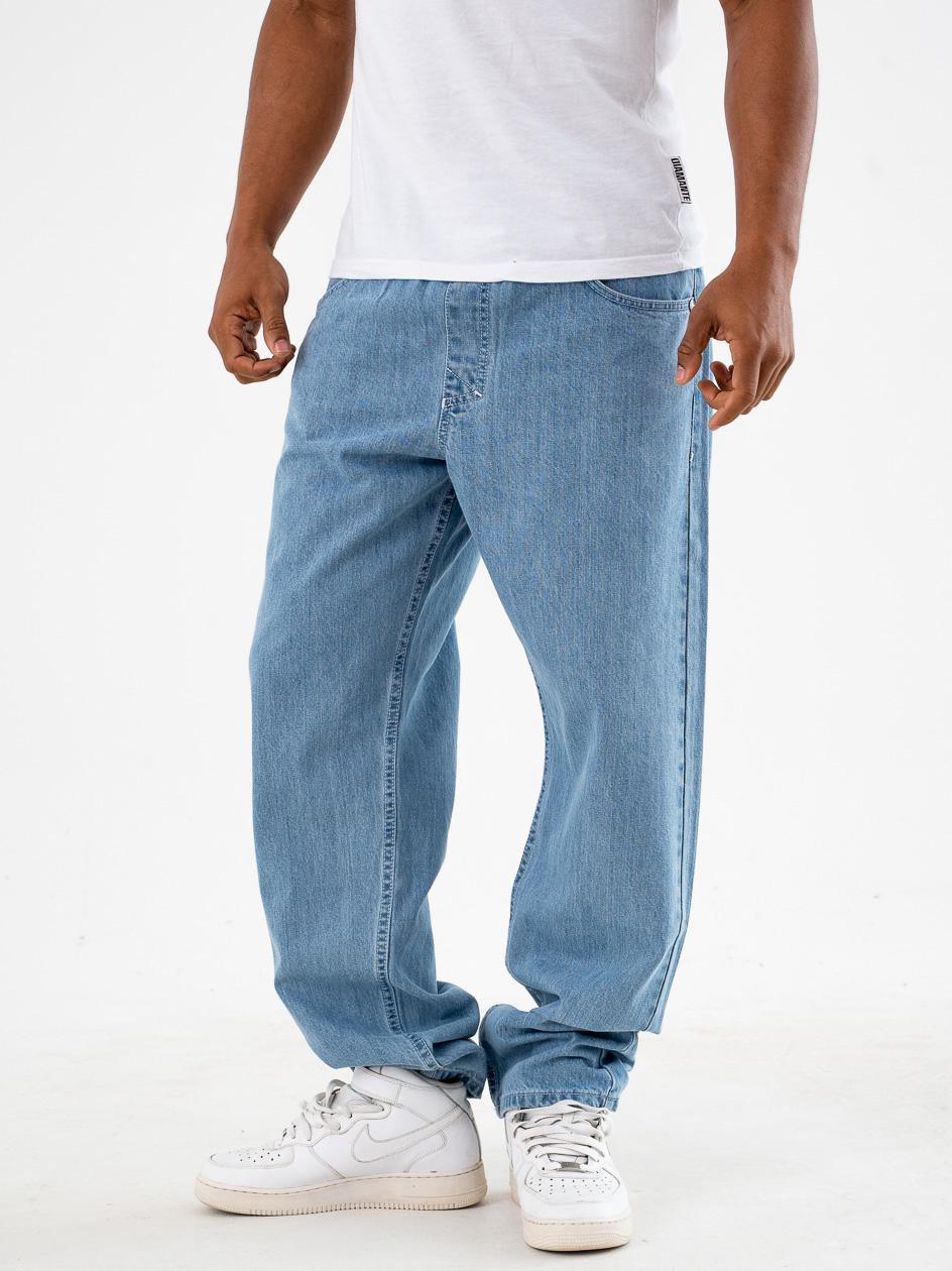 Spodnie Jeansowe Ze Ściągaczem Straight Mass Block Jasne Niebieskie