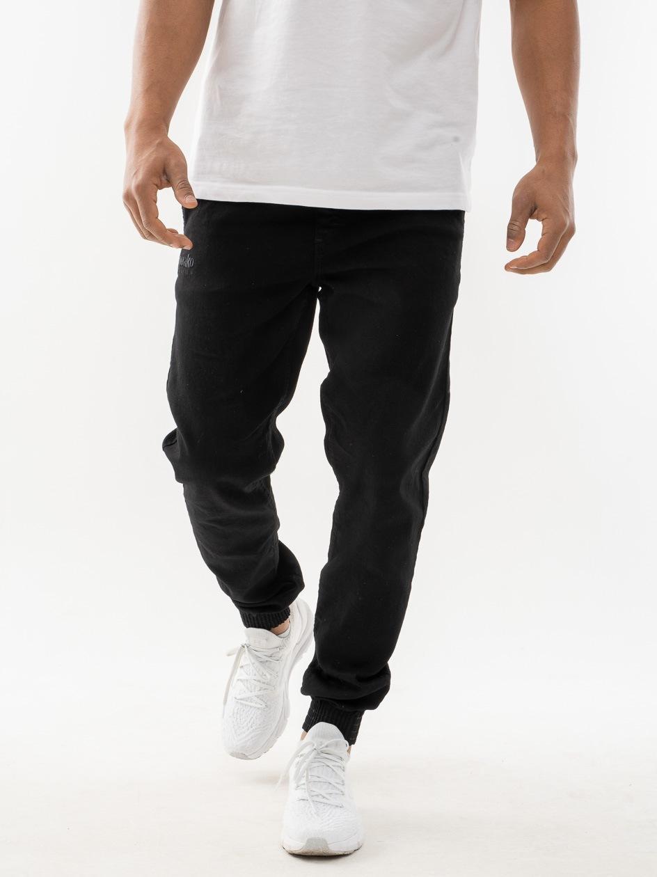 Spodnie Jeansowe Slim Jogger Ze Ściągaczem El Polako Front Classic Czarne