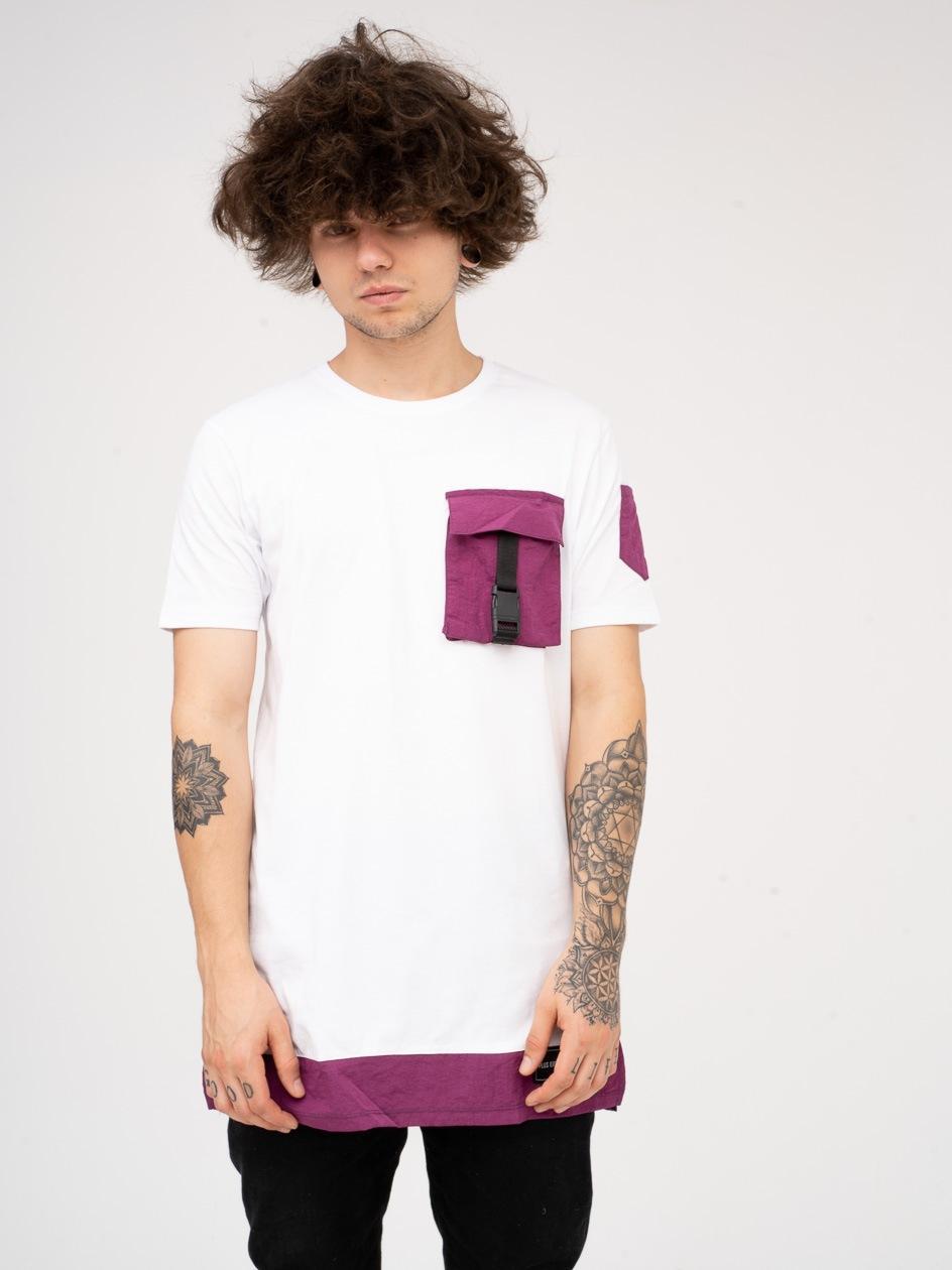Koszulka Z Krótkim Rękawem Plus Eighteen Cargo Biała / Fioletowa