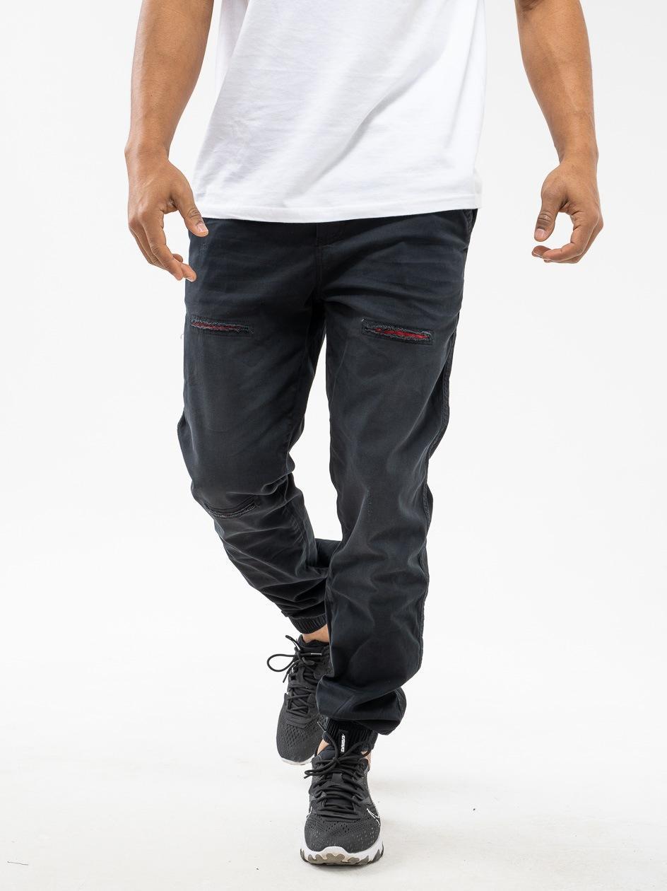 Spodnie Materiałowe Jogger Z Uszkodzeniami Jigga Wear Crown Czarne Wycierane / Czerwone