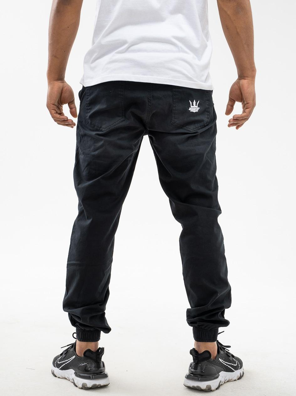 Spodnie Materiałowe Jogger Jigga Wear Crown Czarne Wycierane / Białe