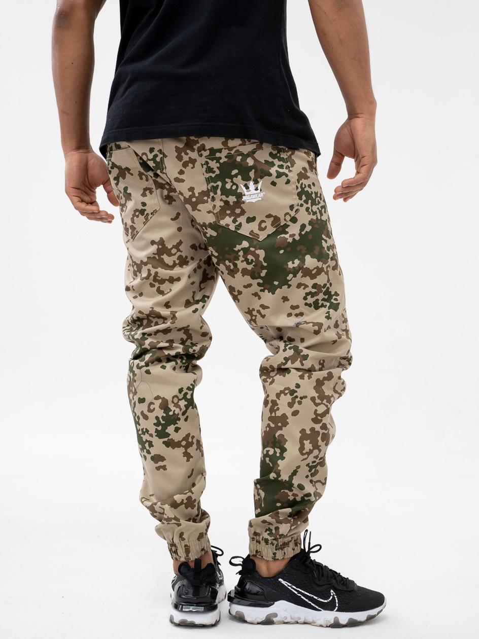 Spodnie Materiałowe Jogger Ze Ściągaczem Jigga Wear Crown Desert Camo