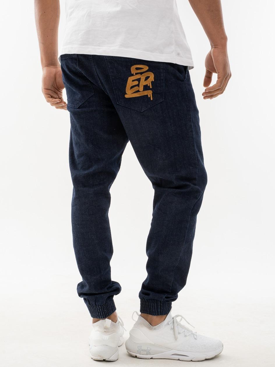 Spodnie Jeansowe Slim Jogger Ze Ściągaczem El Polako Ep Tag Ciemne Niebieskie