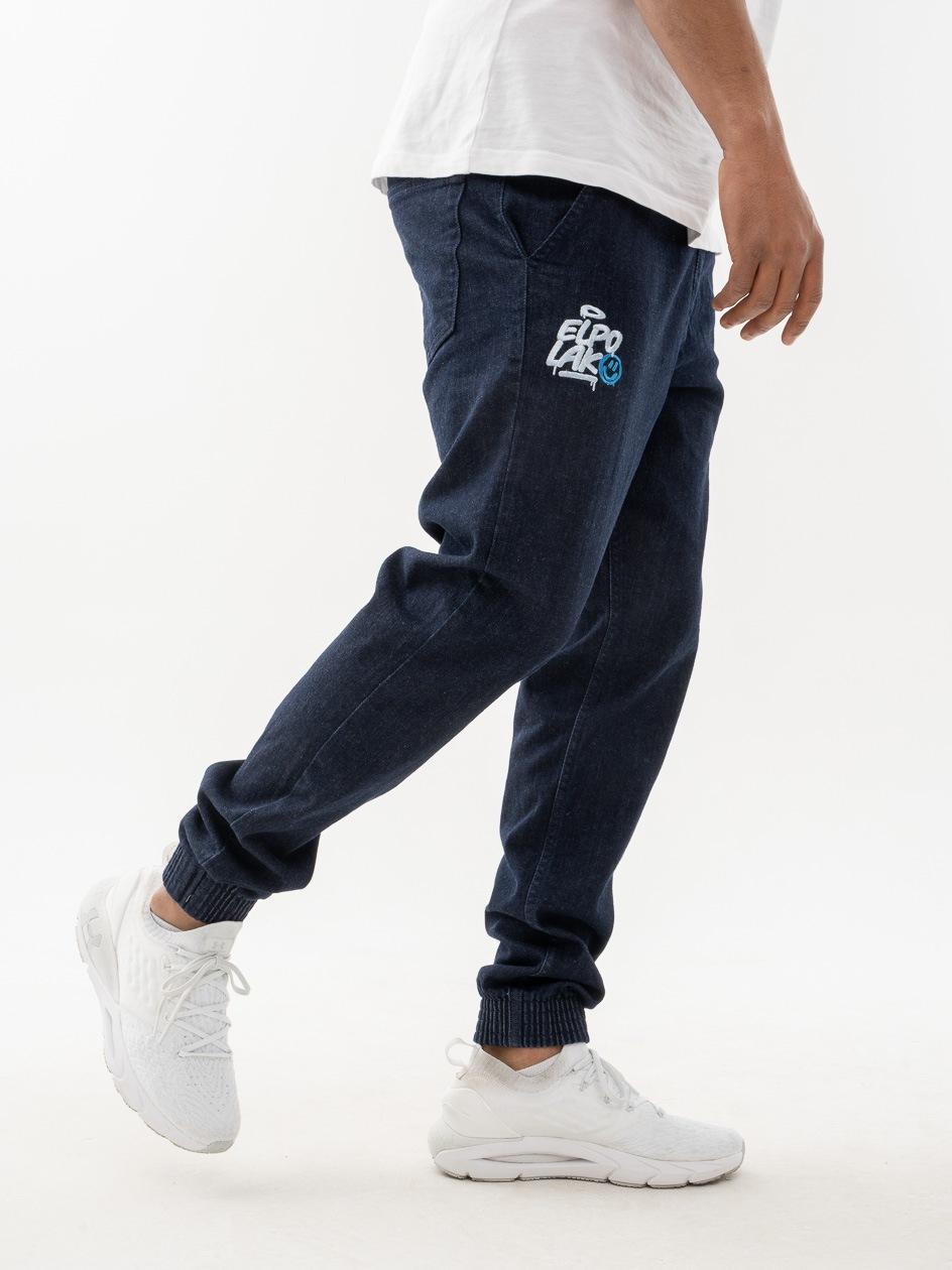 Spodnie Jeansowe Slim Jogger Ze Ściągaczem El Polako Miejski Tag Ciemne Niebieskie
