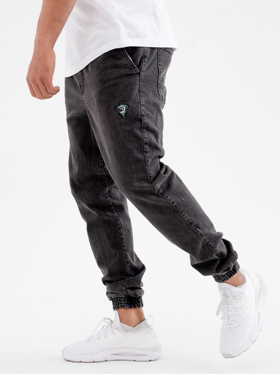 Spodnie Jeansowe Jogger Grube Lolo New Triangle Czarne Marmurkowe