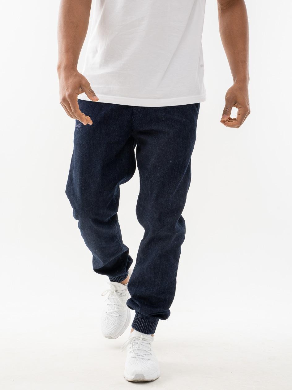 Spodnie Jeansowe Slim Jogger Ze Ściągaczem El Polako Front Classic Ciemne Niebieskie