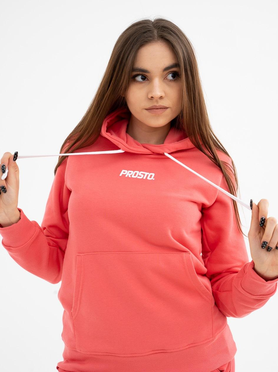 Damska Bluza Z Kapturem Prosto Micro Różowa
