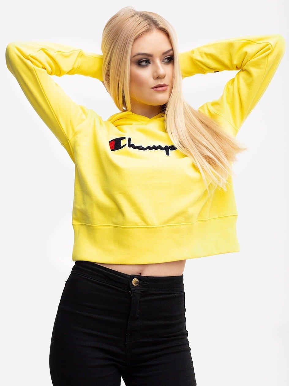 Mesh Logo Script Hooded Sweatshirt Yellow