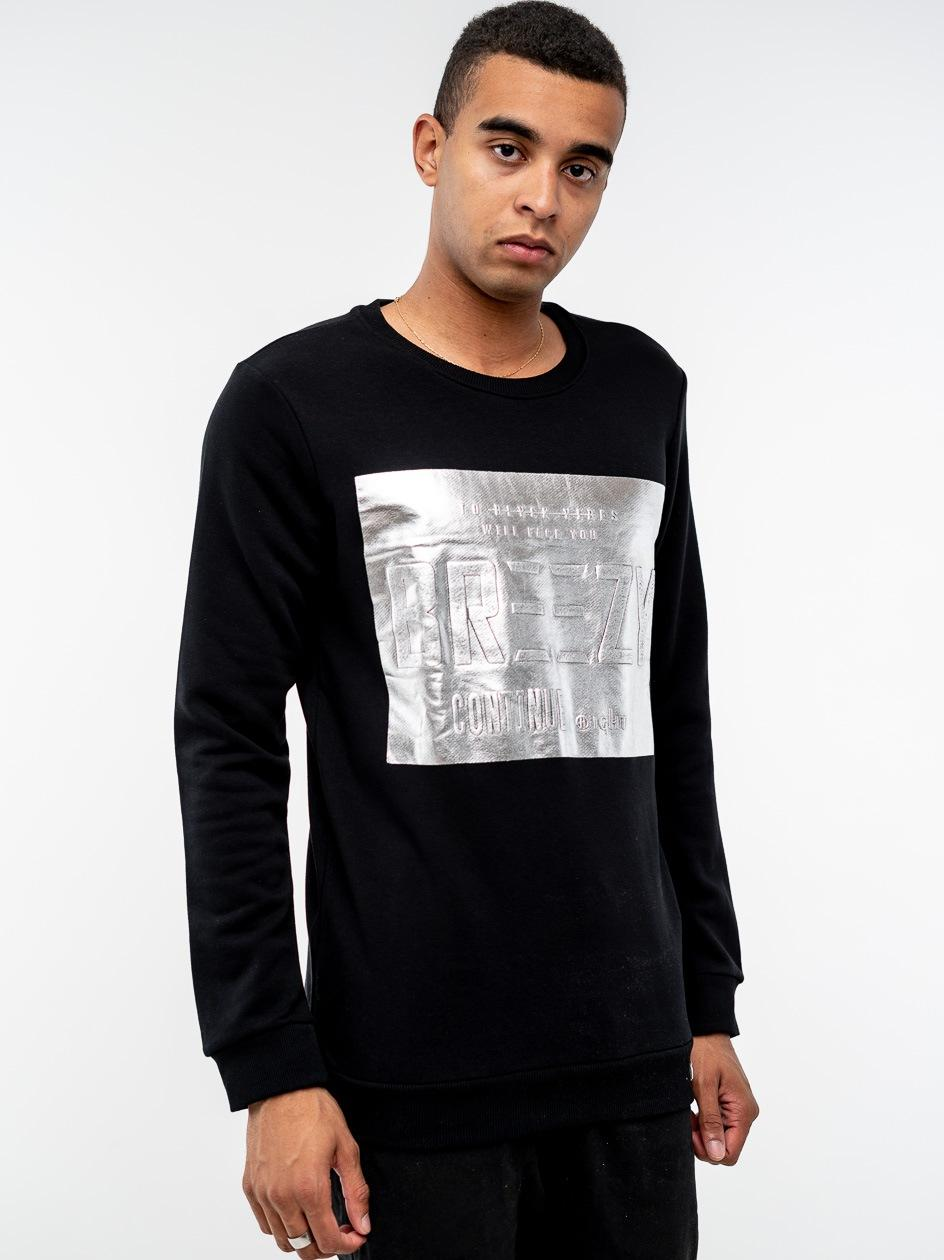 Bluza Bez Kaptura Breezy Silver Panel Czarna