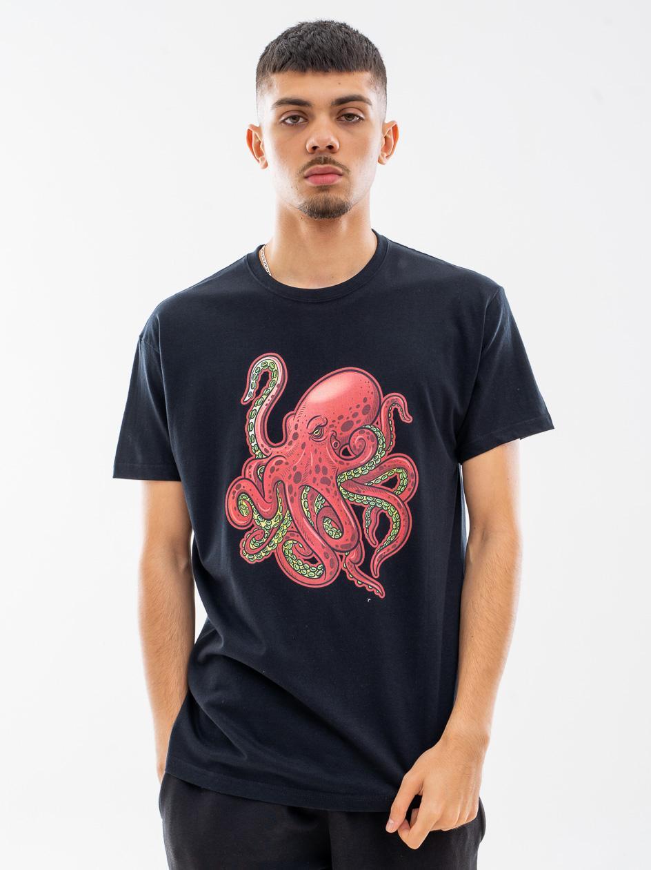 Koszulka Z Krótkim Rękawem MyStars Octopus Czarna / Czerwona
