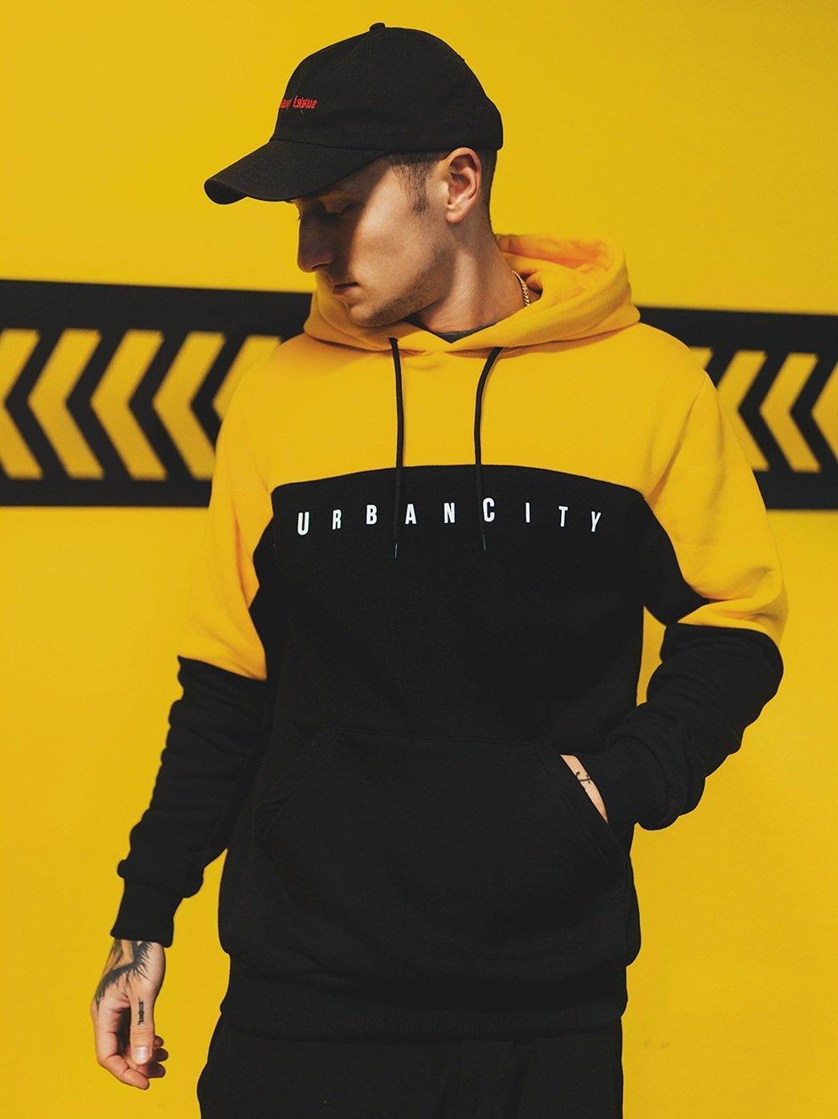 Bluza Z Kapturem UrbanCity Half Cut Czarna / Żółta