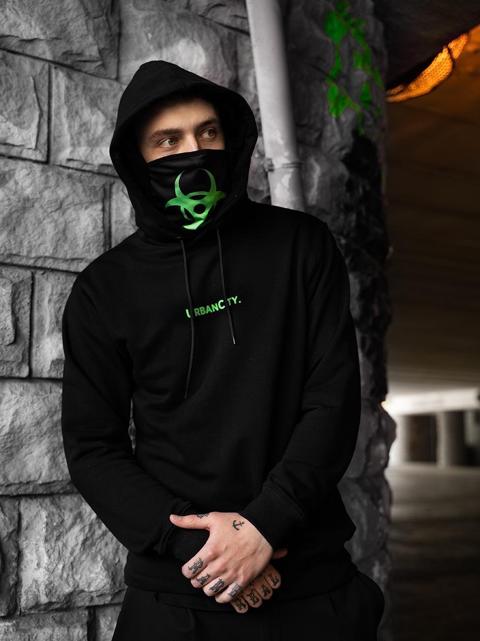 Bluza Z Kapturem UrbanCity Poison Mask Czarna / Limonkowa
