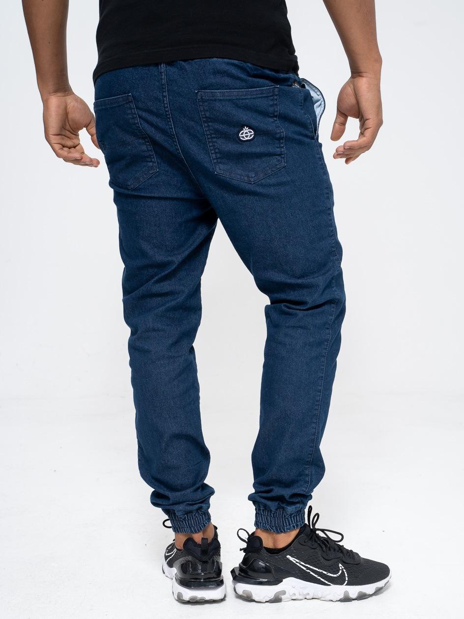 Spodnie Jeansowe Jogger Ze Ściągaczem Elade Icon Mini Logo Niebieskie
