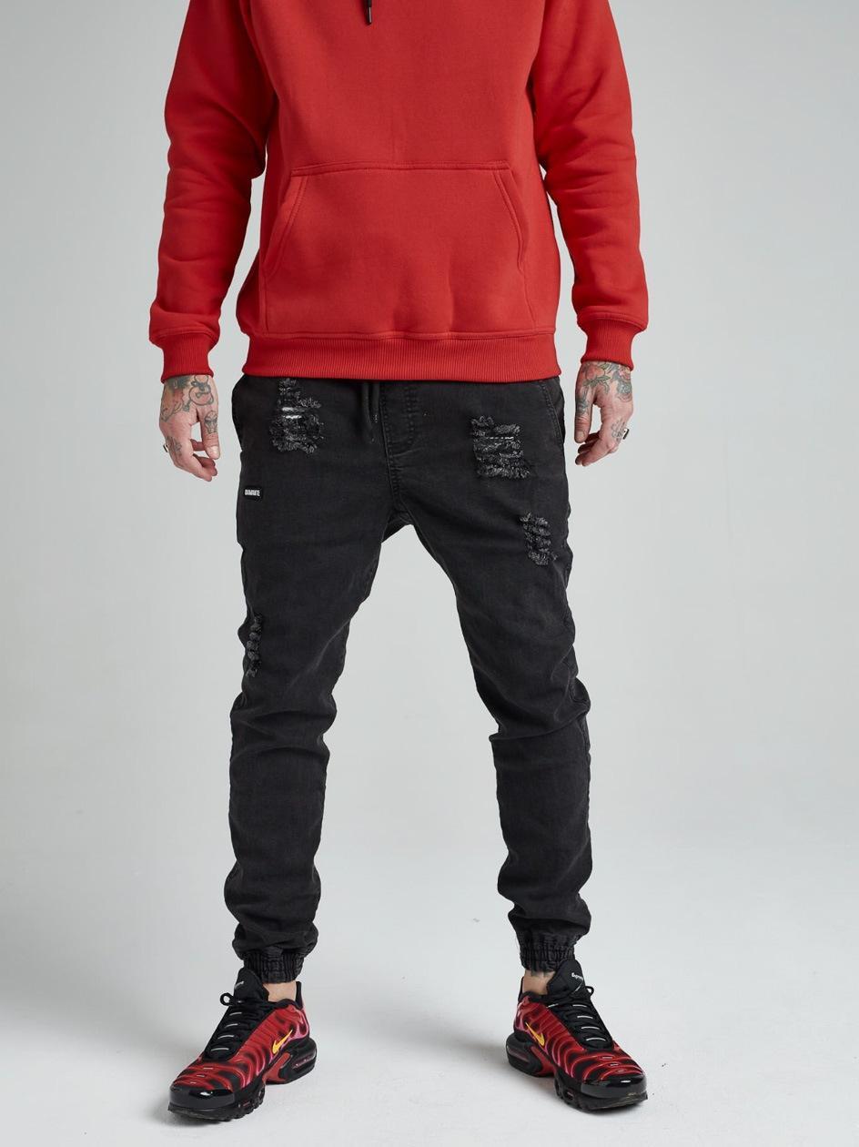 Spodnie Jeansowe Jogger Z Uszkodzeniami Diamante Wear Diamante Crew Czarne