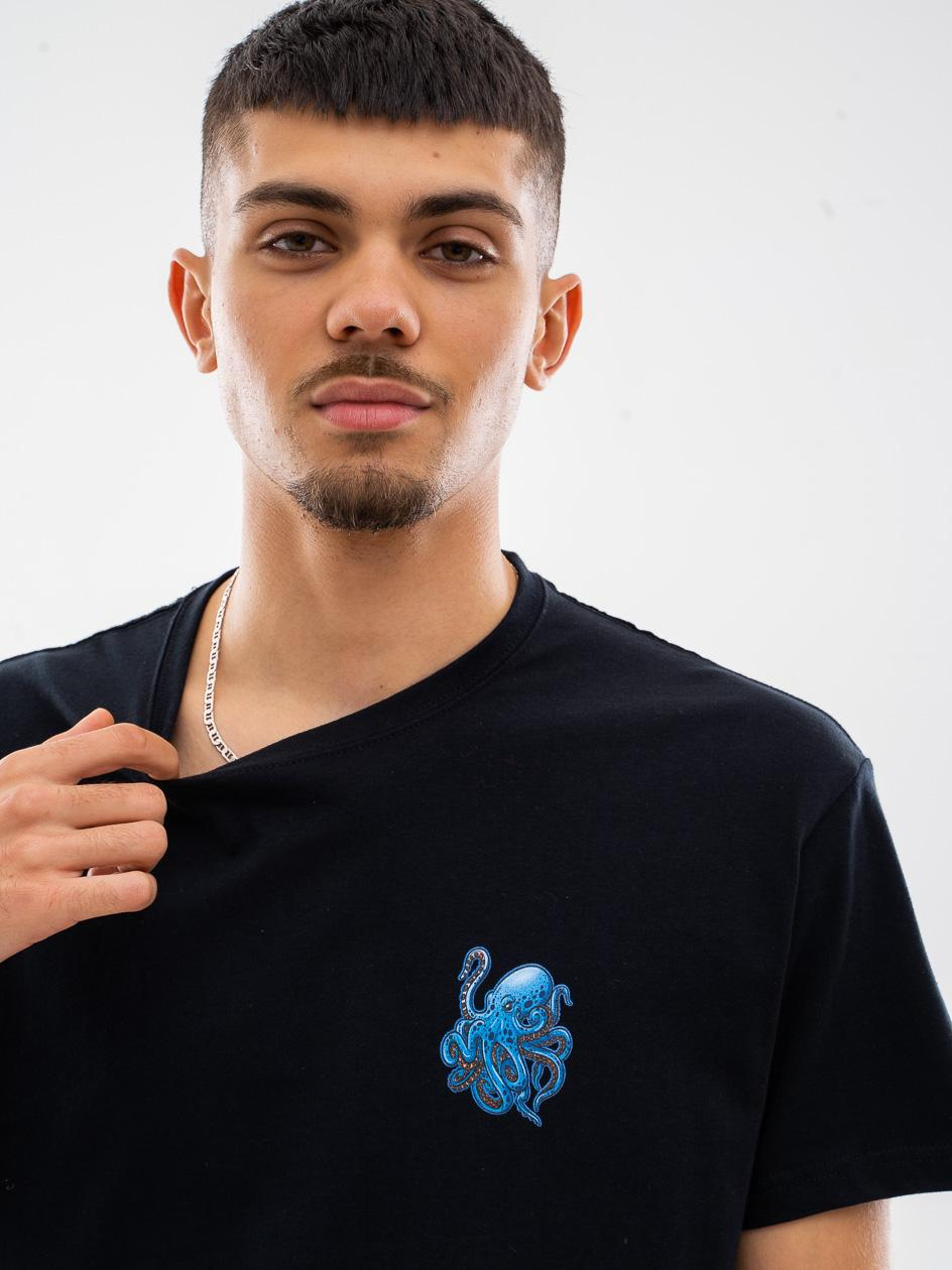 Koszulka Z Krótkim Rękawem MyStars Small Octopus Czarna / Niebieska