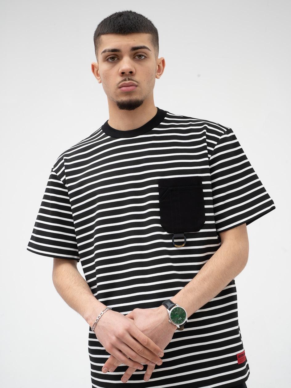 Koszulka Z Krótkim Rękawem Caterpillar Cat Stripes Czarna / Biała