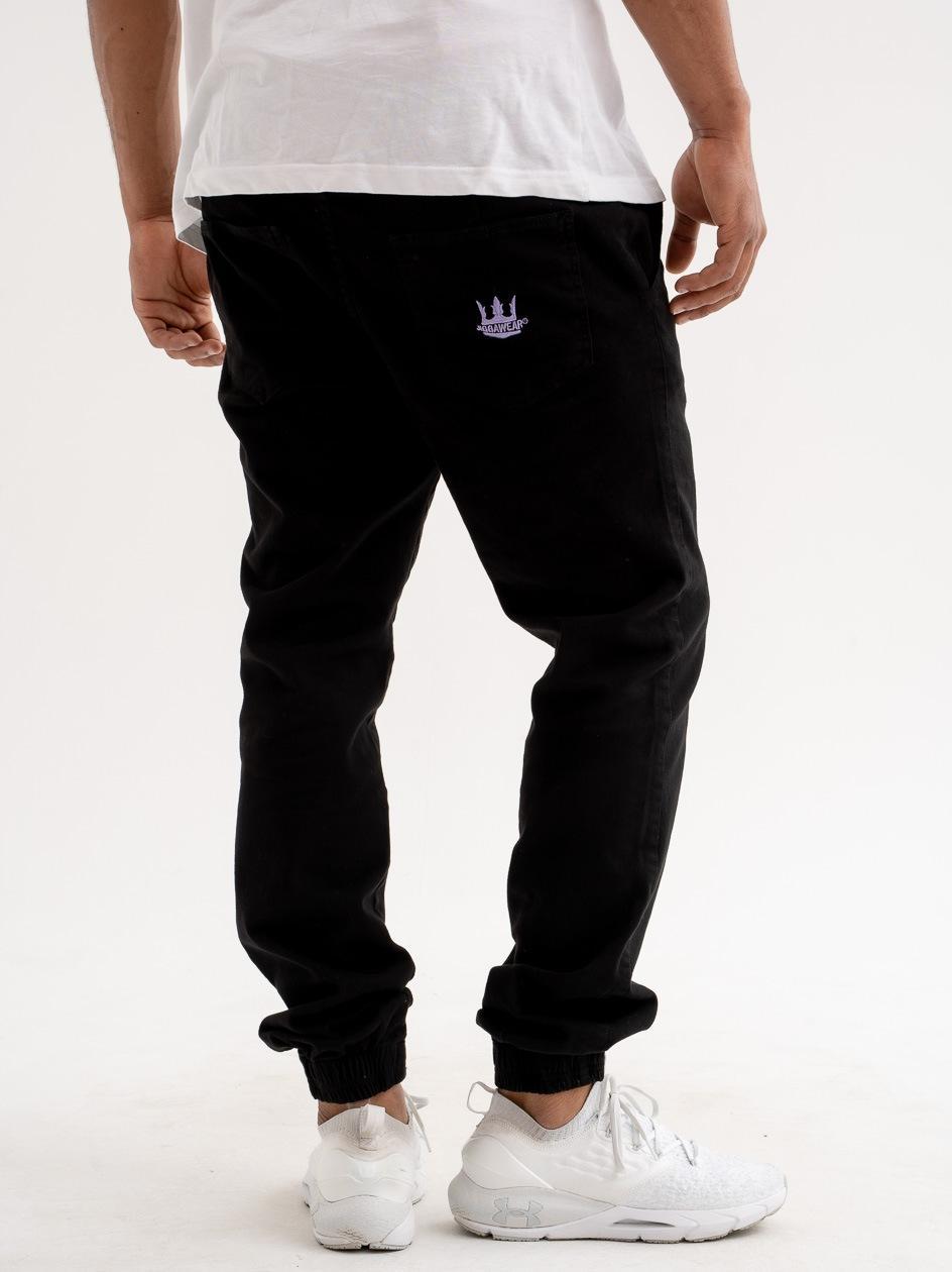 Spodnie Jogger Jigga Crown Stitch Czarne / Fioletowe