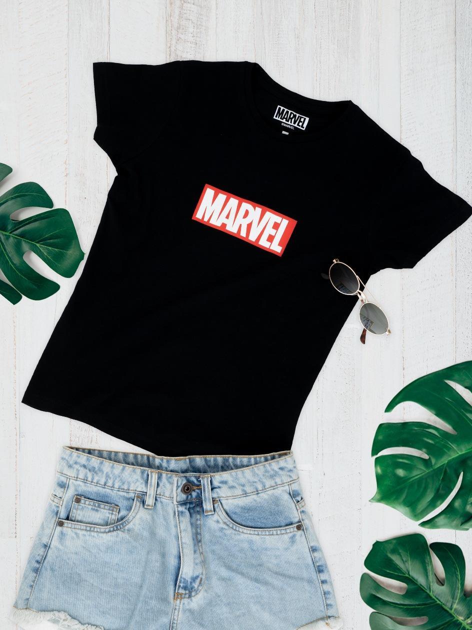 Damska Koszulka Z Krótkim Rękawem Marvel Comics Front Logo Czarna