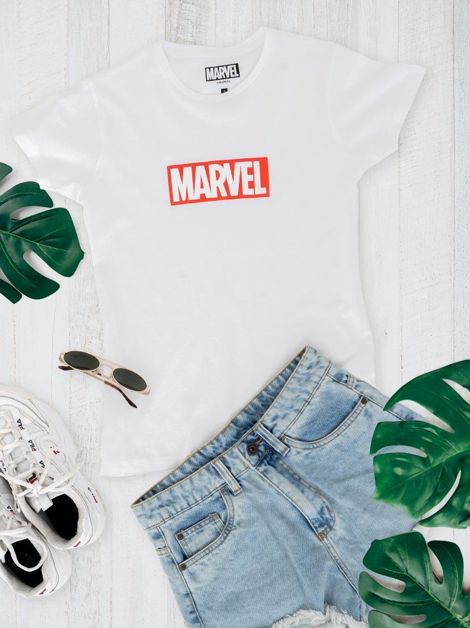 Damska Koszulka Z Krótkim Rękawem Marvel Comics Front Logo Biała