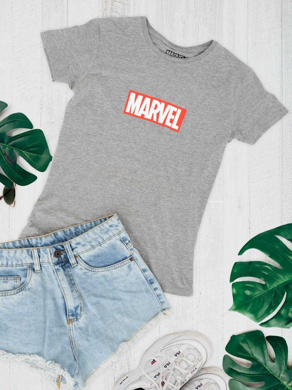 Damska Koszulka Z Krótkim Rękawem Marvel Comics Front Logo Szara