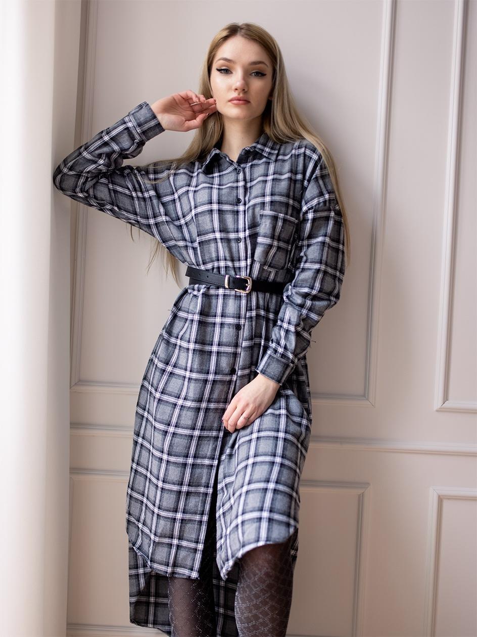 Długa Koszulowa Sukienka W Kratę Point X Checked Szara