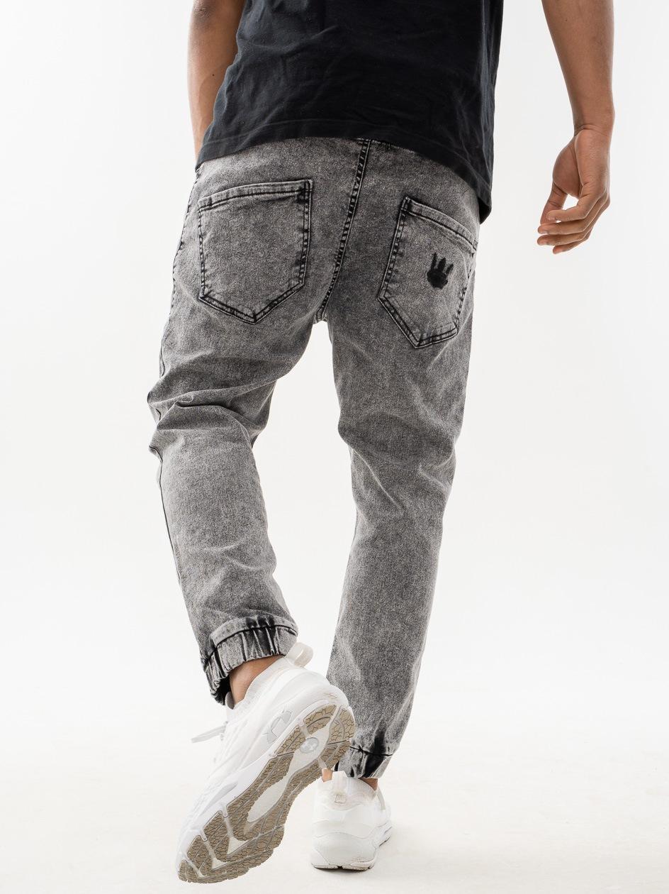 Spodnie Jeansowe Jogger Tappered Jigga Wear Tonal Crown Czarne Marmurkowe