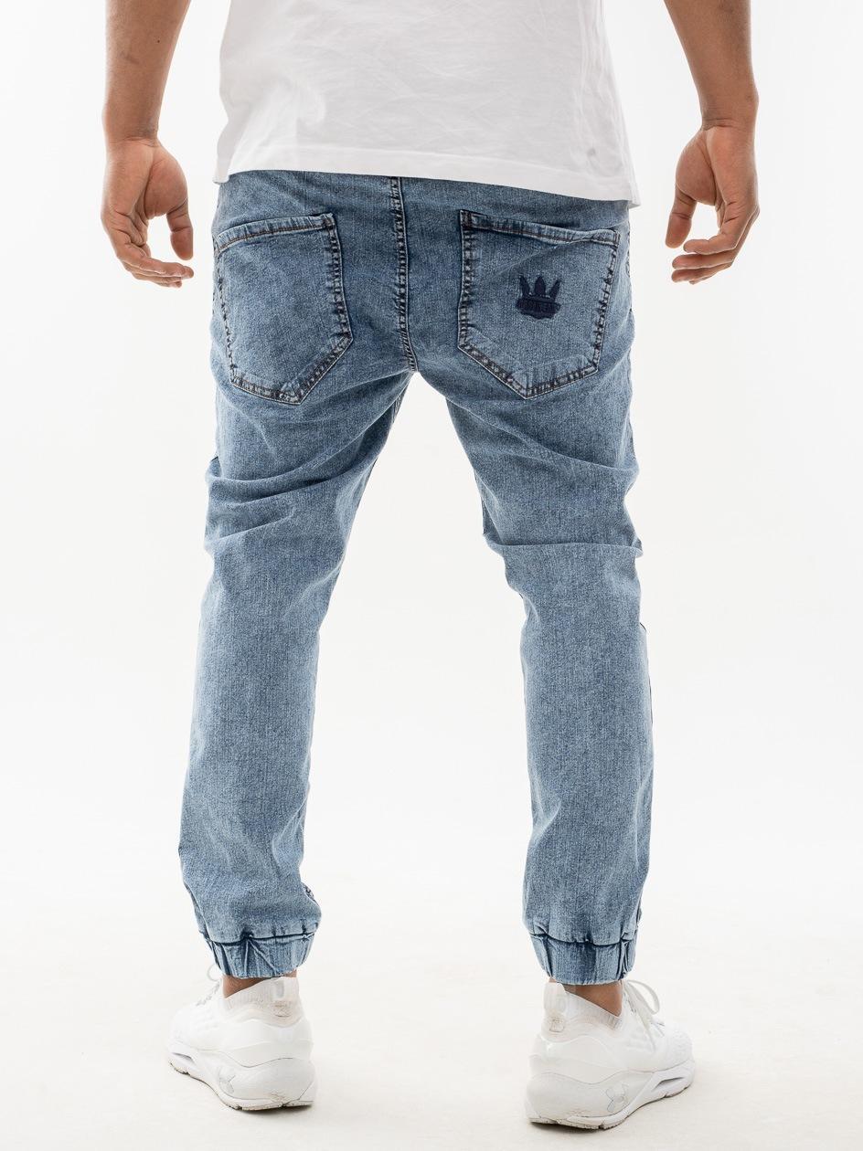 Spodnie Jeansowe Jogger Tappered Jigga Wear Tonal Crown Niebieskie Marmurkowe