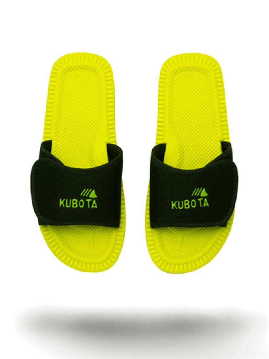 Klapki Kubota Na Rzep Logo Limonkowe / Czarne