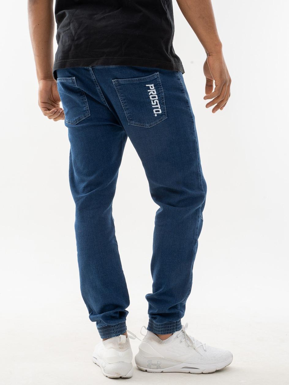 Spodnie Materiałowe Jogger Prosto Imit Niebieskie