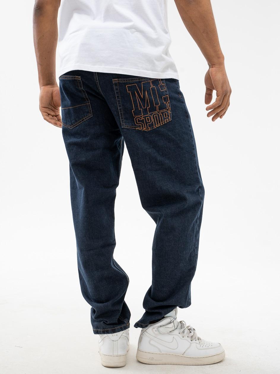 Spodnie Jeansowe Baggy Metoda Sport MH Stitch Ciemne Niebieskie