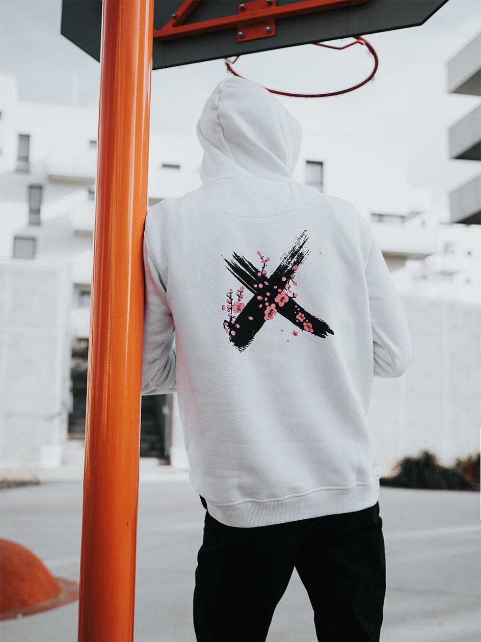 Bluza Z Kapturem Point X Sakura Logo Biała
