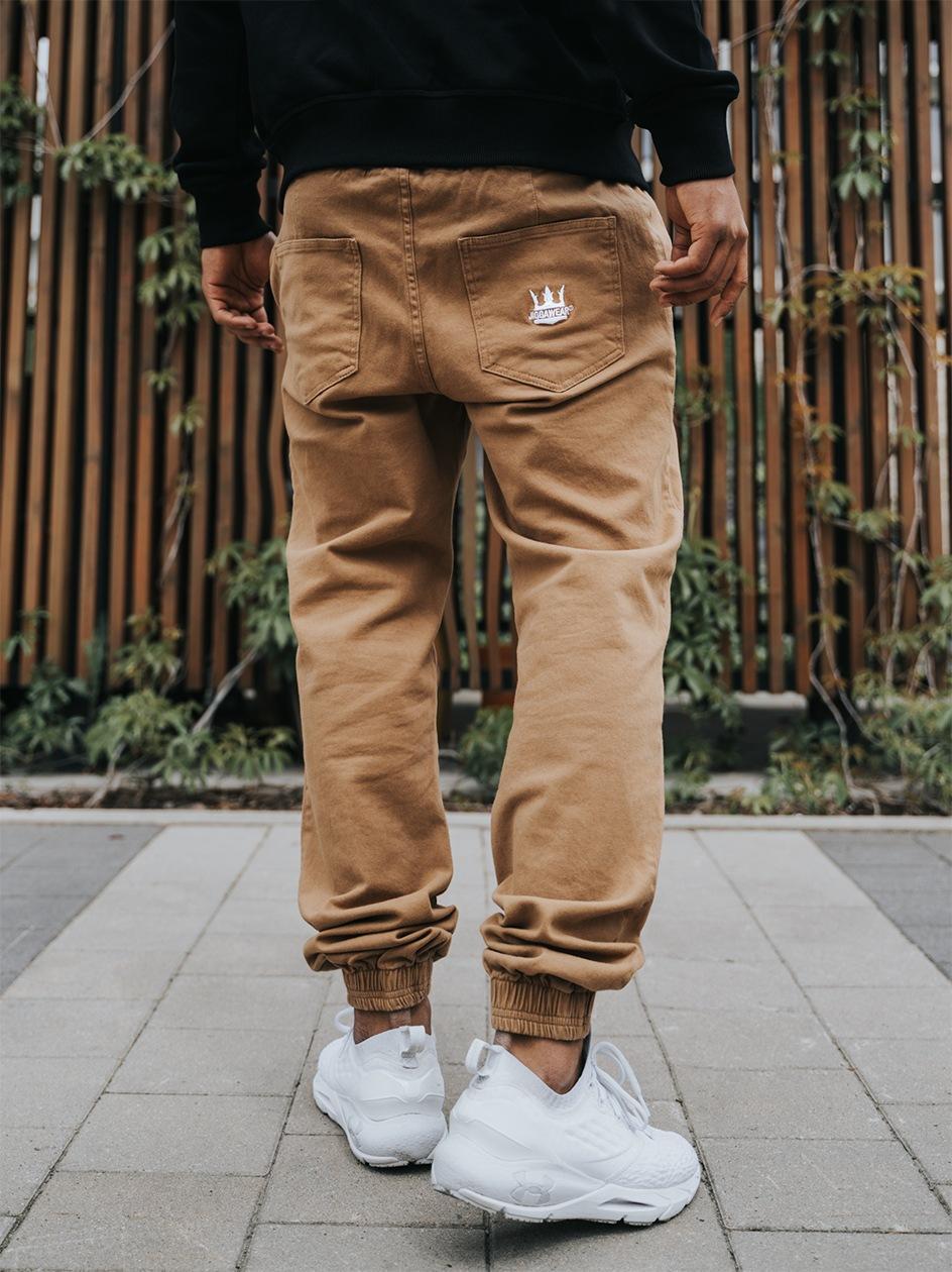 Spodnie Jogger Jigga Crown Stitch Brązowe / Białe