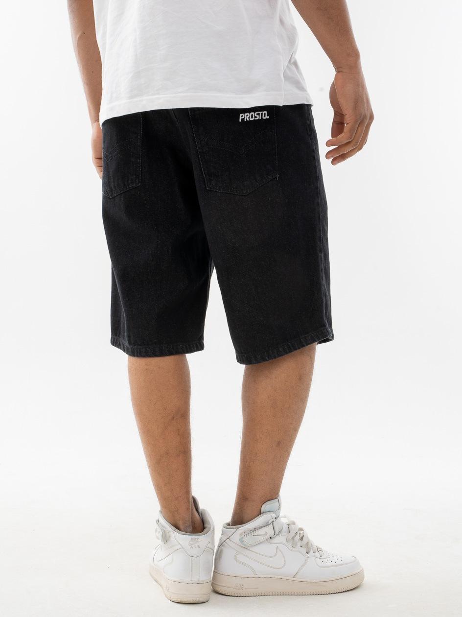 Krótkie Spodenki Jeansowe Prosto Maket Czarne