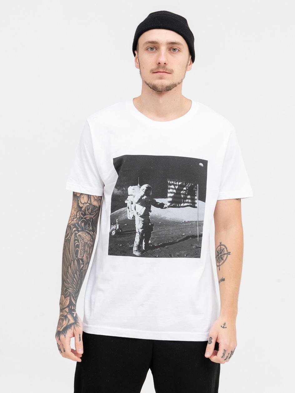Koszulka Z Krótkim Rękawem Mister Tee NASA Moon Landing Biała