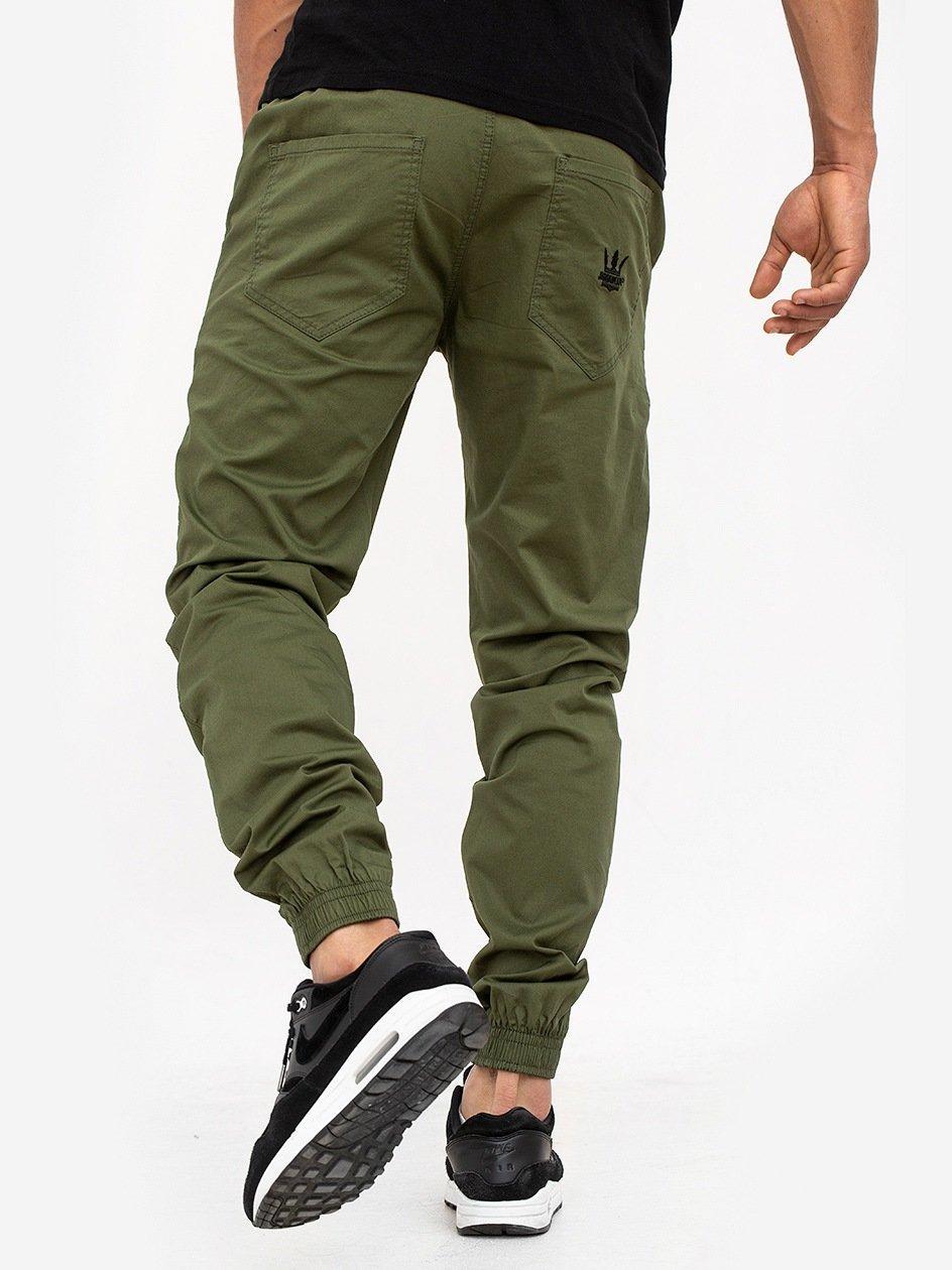 Spodnie Materiałowe Jogger Ze Ściągaczem Crown Oliwkowe