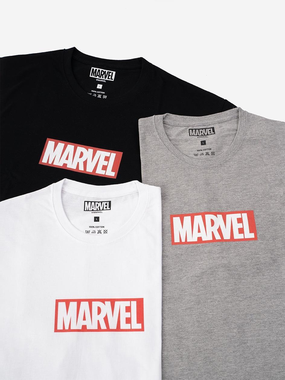 Zestaw 3 Koszulek Marvel Comics Front Logo Czarna / Biała / Szara